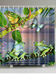 Bathroom Decoration Frog Print Shower Curtain - COLORMIX