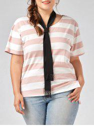 Plus Size Round Neck Striped Tee with Scarf