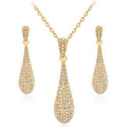 Rhinestoned Teardrop Earrings and Necklace Set