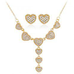 Rhinestoned Heart Necklace with Earrings Set