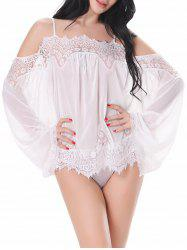 Cold Shoulder Mesh Babydoll Outfit - WHITE