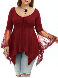 Flare Sleeve Handkerchief Plus Size Tunic Top