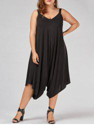 V Neck Plus Size Capri Baggy Jumpsuit - BLACK