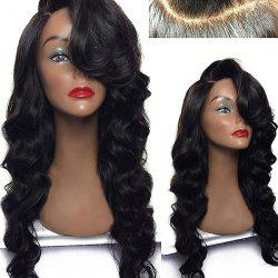 Deep Side Part Long Body Wave Lace Front Synthetic Wig - BLACK