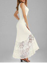 Scalloped Lace Panel Maxi Tank Dress - OFF-WHITE