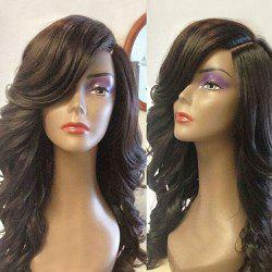 Deep Side Part Long Wavy Lace Front Synthetic Wig - BLACK
