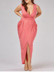 Ruched Plus Size Surplice Maxi Evening Dress -