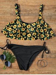 Sunflower Flounce Cropped Top Bikini Set