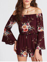 Off The Shoulder Bell Sleeve Floral Romper - BORDEAUX XL