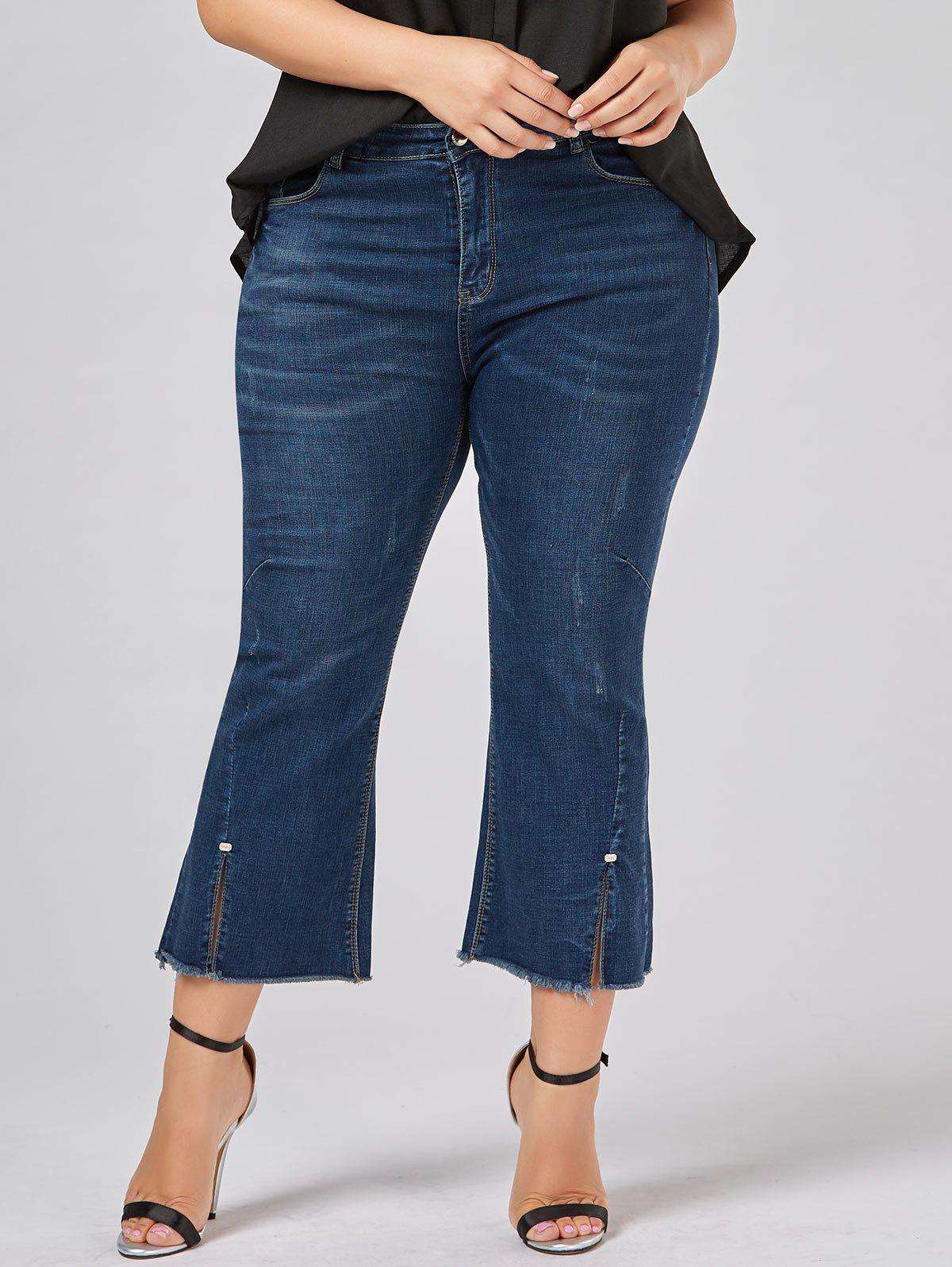 Sale Plus Size Frayed Hem Boot Cut Jeans