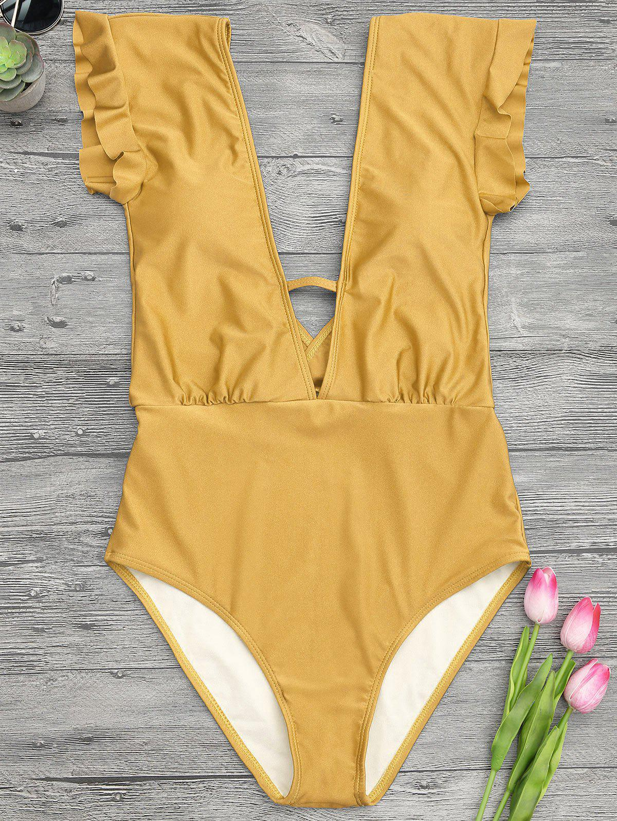 Affordable Frilled One-piece Plunge Swimsuit