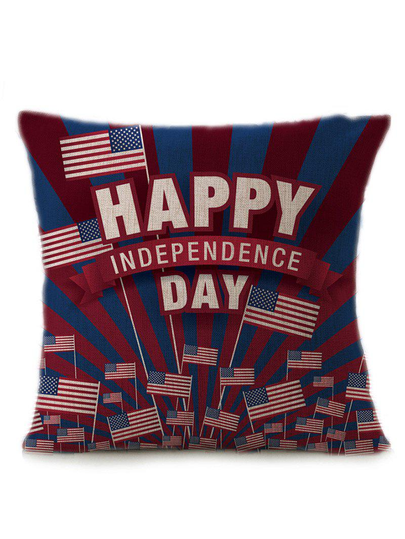 Patriotic American Flag Independence Day Linen Pillow CaseHOME<br><br>Size: 45*45CM; Color: MULTICOLOR; Material: Polyester / Cotton; Fabric Type: Linen; Pattern: Letter; Style: Retro; Shape: Square; Size(CM): 45*45CM; Weight: 0.1000kg; Package Contents: 1 x Pillow Case;