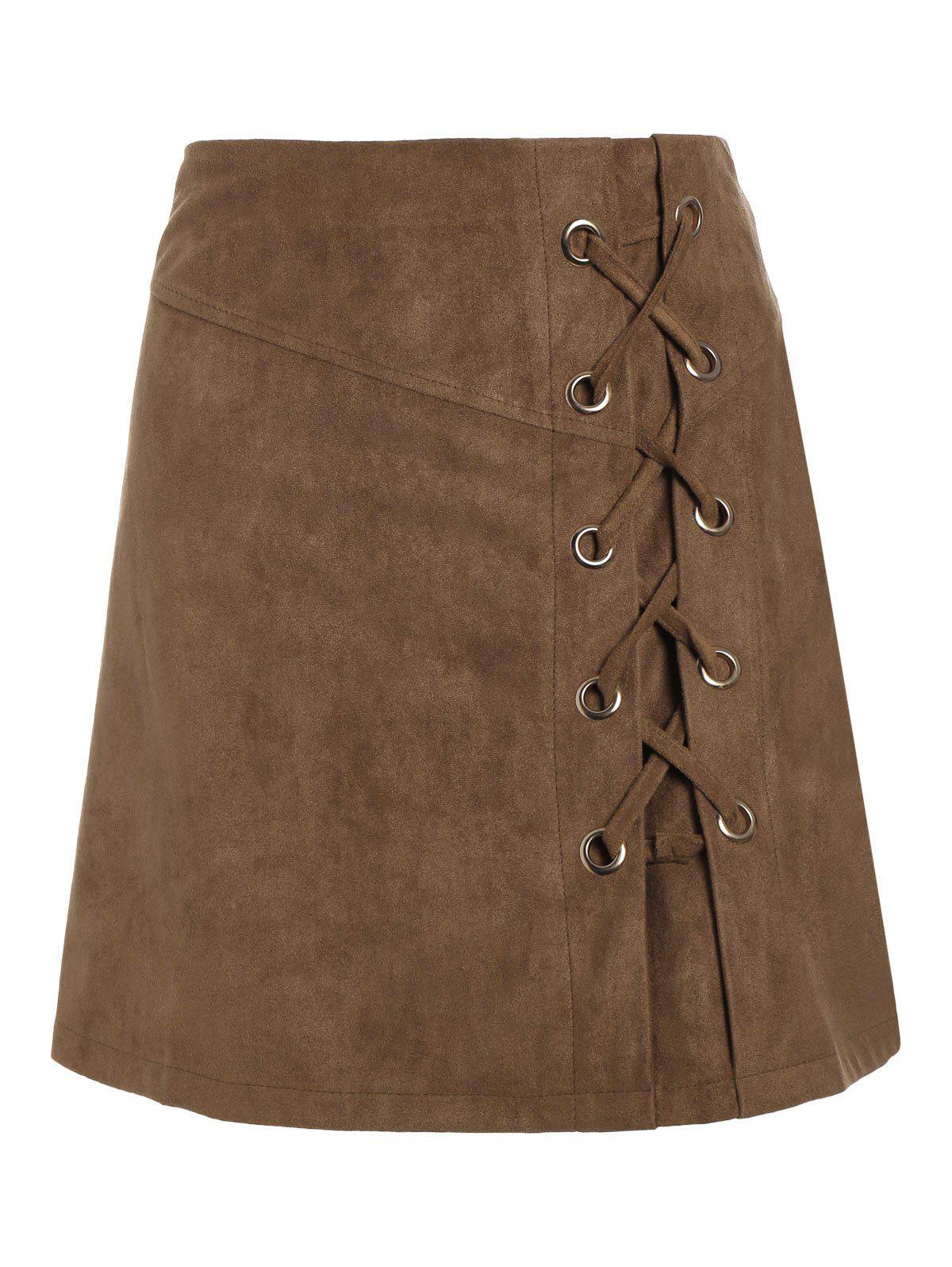 Online Lace Up Min iHigh Waist Skirt