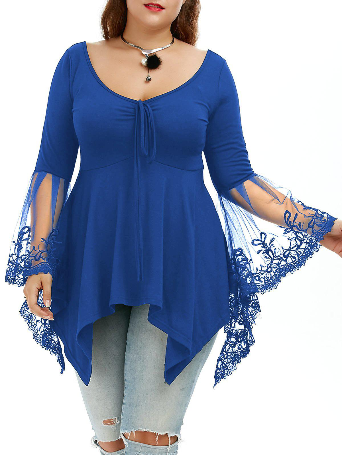 Flare Sleeve Handkerchief Plus Size Tunic TopWOMEN<br><br>Size: 5XL; Color: BLUE; Material: Cotton Blends,Polyester; Shirt Length: Regular; Sleeve Length: Full; Collar: U Neck; Style: Casual; Season: Fall,Spring,Summer; Sleeve Type: Flare Sleeve; Embellishment: Lace; Pattern Type: Solid; Elasticity: Elastic; Weight: 0.3100kg; Package Contents: 1 x Top;