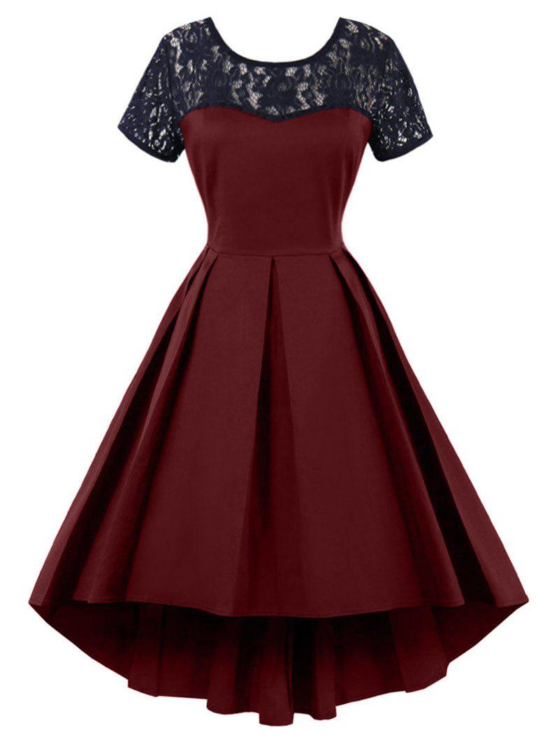 High Low Lace Insert Vintage Semi Cocktail DressWOMEN<br><br>Size: 2XL; Color: WINE RED; Style: Vintage; Material: Polyester; Silhouette: A-Line; Dresses Length: Knee-Length; Neckline: Round Collar; Sleeve Length: Short Sleeves; Embellishment: Backless,Hollow Out,Lace,Patch Designs; Pattern Type: Solid; With Belt: No; Season: Summer; Weight: 0.3500kg; Package Contents: 1 x Dress;