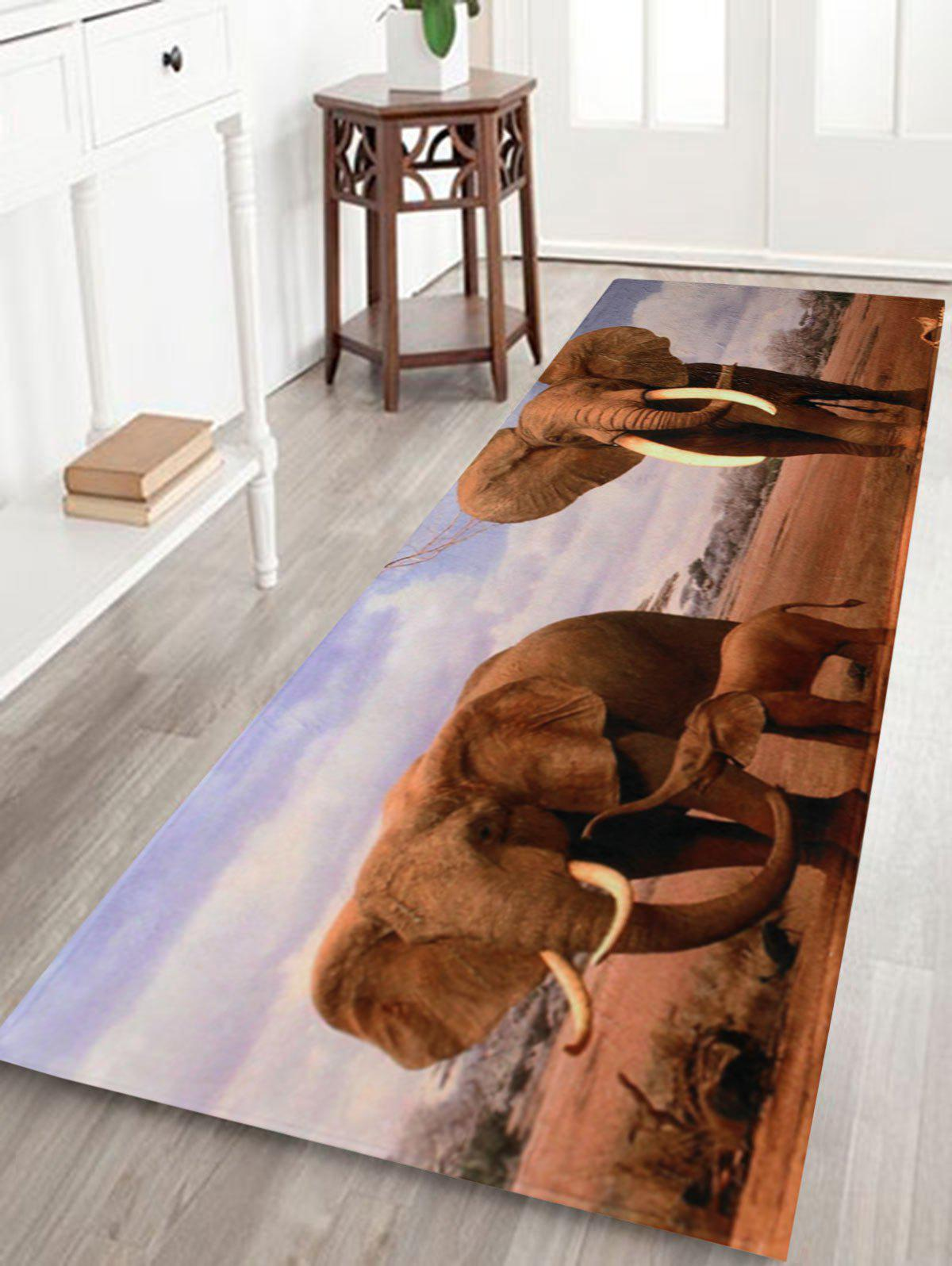 African Elephant Soft Coral Fleece Floor Area RugHOME<br><br>Size: W16 INCH * L47 INCH; Color: COLORMIX; Products Type: Bath rugs; Materials: Coral FLeece; Pattern: Animal; Style: Trendy; Shape: Rectangle; Package Contents: 1 x Bath Rug;