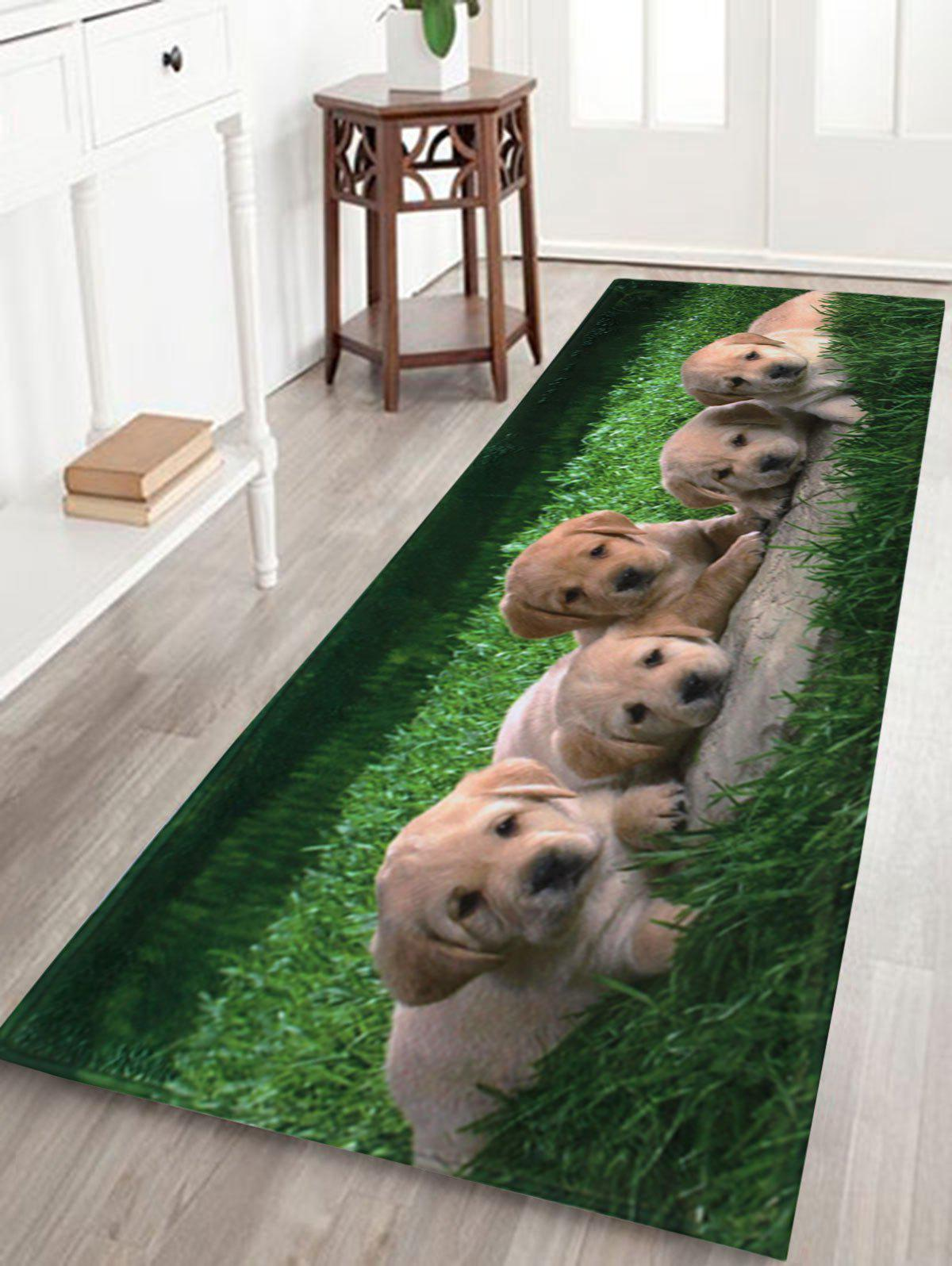 Puppy Pets Coral Velvet Extra Long Bathroom RugHOME<br><br>Size: W24 INCH * L71 INCH; Color: GREEN; Products Type: Bath rugs; Materials: Coral FLeece; Pattern: Animal; Style: Cute; Shape: Rectangle; Package Contents: 1 x Bath Rug;