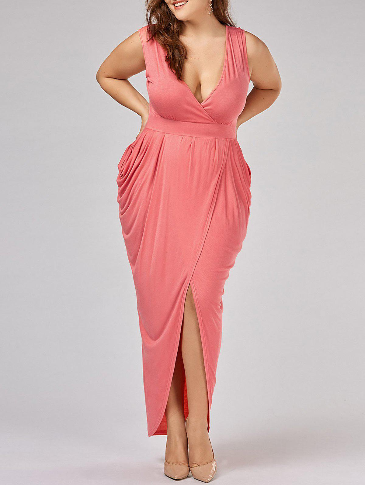 Ruched Plus Size Surplice Maxi Evening DressWOMEN<br><br>Size: XL; Color: ORANGEPINK; Style: Brief; Material: Cotton,Spandex; Silhouette: Asymmetrical; Dresses Length: Ankle-Length; Neckline: Plunging Neck; Sleeve Length: Sleeveless; Pattern Type: Solid; With Belt: No; Season: Summer; Weight: 0.3500kg; Package Contents: 1 x Dress;