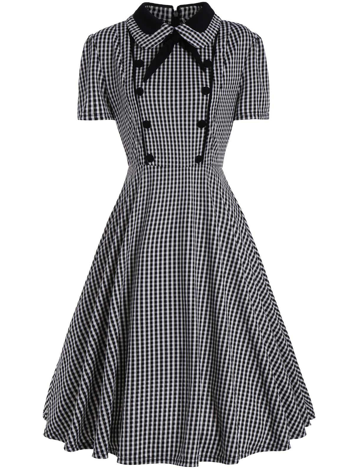 Plus Size A Line Plaid Midi DressWOMEN<br><br>Size: 3XL; Color: BLACK; Style: Vintage; Material: Polyester; Silhouette: A-Line; Dresses Length: Mid-Calf; Neckline: Turn-down Collar; Sleeve Length: Short Sleeves; Pattern Type: Plaid; With Belt: No; Season: Summer; Weight: 0.5000kg; Package Contents: 1 x Dress;