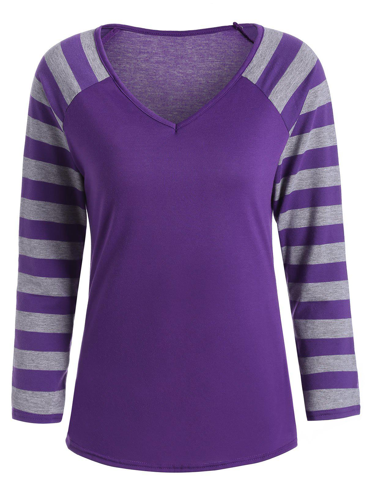 Purple s v neck raglan sleeve striped shirt for Purple and black striped t shirt