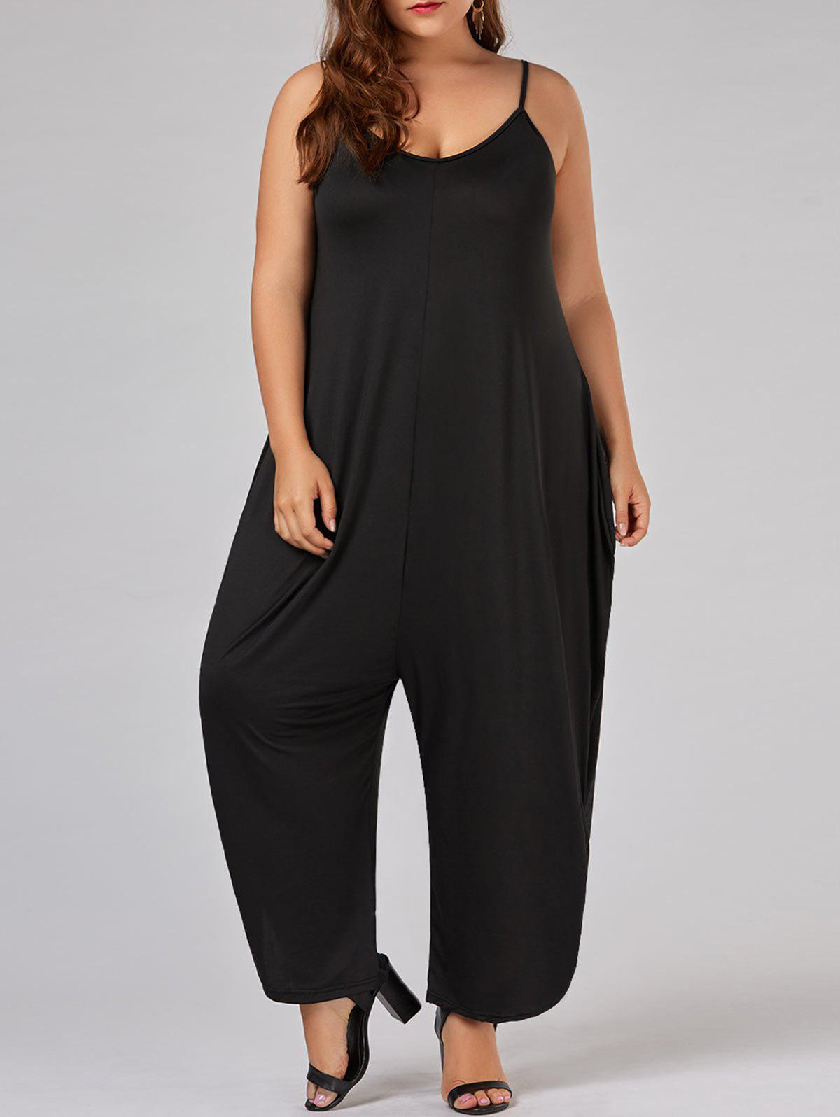 Plus Size Spaghetti Strap Baggy JumpsuitWOMEN<br><br>Size: 5XL; Color: BLACK; Style: Fashion; Length: Normal; Material: Cotton,Polyester; Fit Type: Loose; Waist Type: High; Closure Type: Elastic Waist; Pattern Type: Solid; Embellishment: Ruched; Pant Style: Harem Pants; Weight: 0.3100kg; Package Contents: 1 x Jumpsuit;