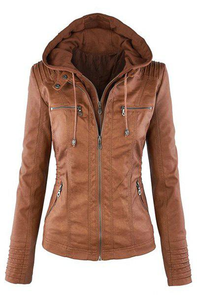 Shop Detachable Hooded Faux Leather Jacket