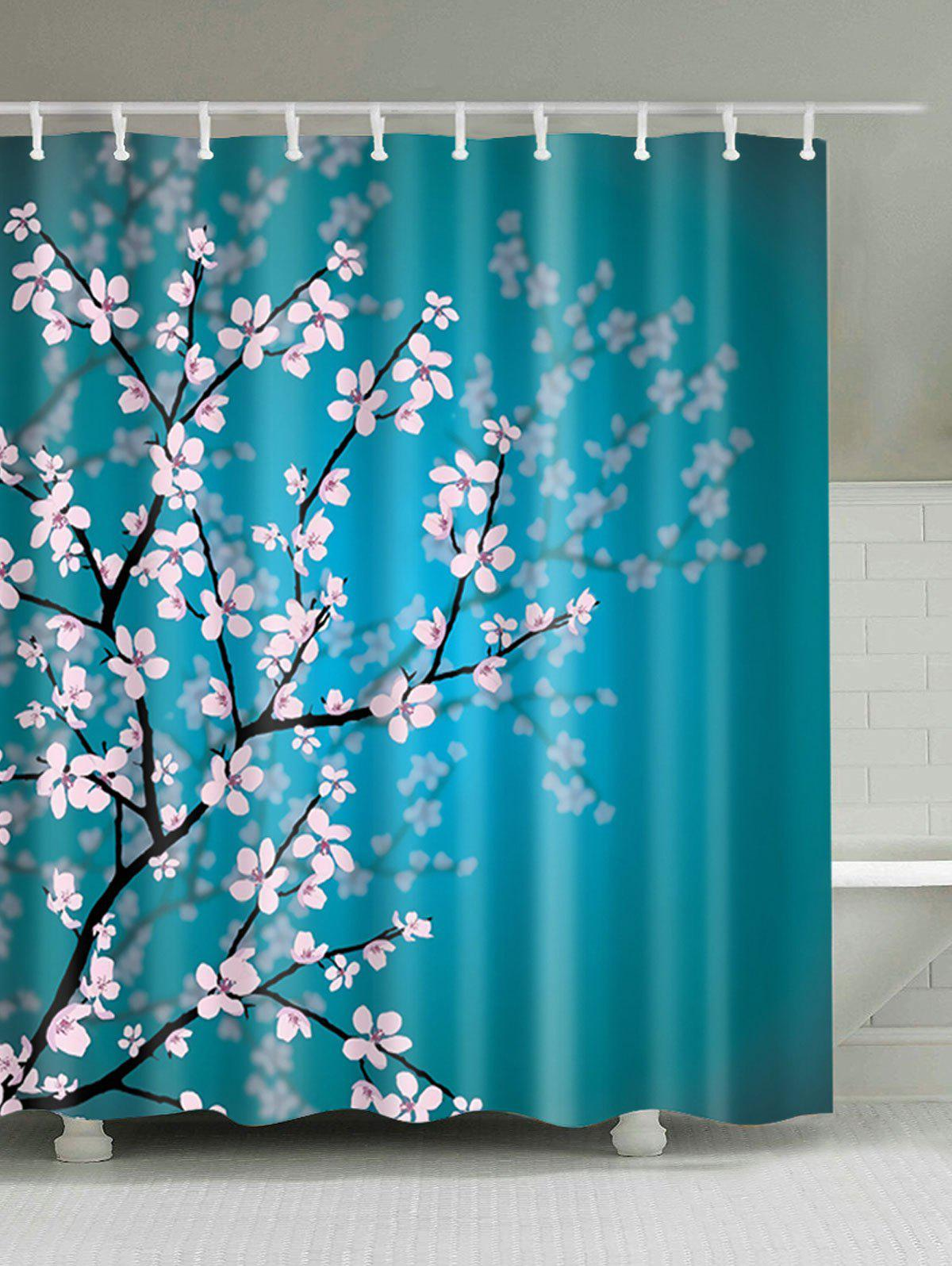 Lake Blue W59 Inch * L71 Inch Plum Blossom Mouldproof Shower Curtain ...