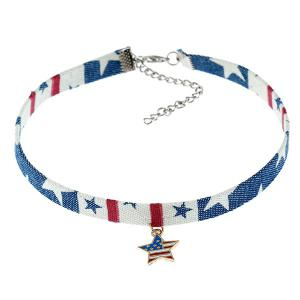 Denim Star Patriotic American Flag Choker Necklace