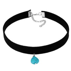 Velvet Waterdrop Faux Turquoise Choker Necklace