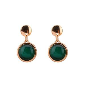 Alloy Faux Opal Round Earrings