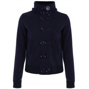High Neck Double-Breasted Hoodie - Purplish Blue - M