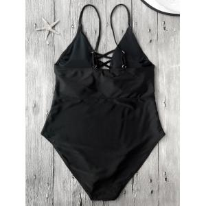 Cami Lace-Up Strappy Padded One-Piece Bathing Suit - BLACK XL