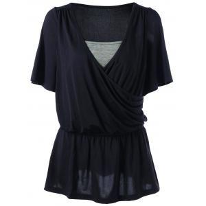Cold Shoulder Elastic Waist Surplice Top