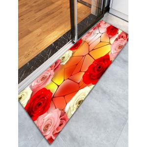 3D Geometric Rose Pattern Skidproof Bathroom Rug