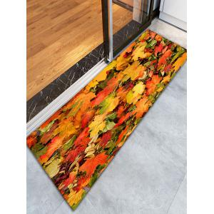 3D Maple Leaf Print Flannel Skidproof Bathroom Rug - Yellow Orange - W16 Inch * L47 Inch