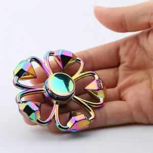 Colorful Diamond Shape Flower Fidget Metal Spinner Anti-stress Toy - Colormix - 8