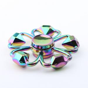 Colorful Diamond Shape Flower Fidget Metal Spinner Anti-stress Toy - COLORMIX