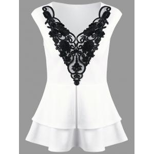 Lace Applique Layered Peplum Top