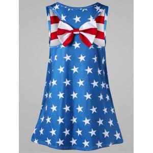 Plus Size Bowknot Embellished American Flag Tank Top - Multicolore XL