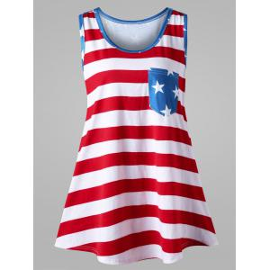 Plus Size Bowknot Embellished American Flag Tank Top - Colormix - 4xl