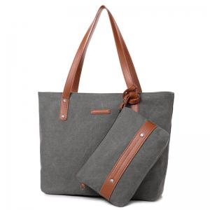 Canvas Tote with Zipper Wristlet Purse - Gray