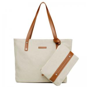 Canvas Tote with Zipper Wristlet Purse - Off-white