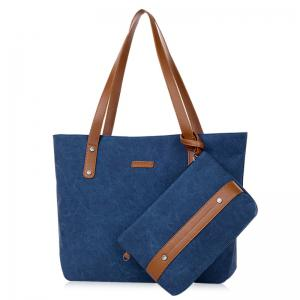 Canvas Tote with Zipper Wristlet Purse - Blue