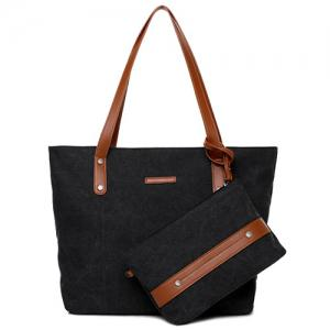 Canvas Tote with Zipper Wristlet Purse - Black