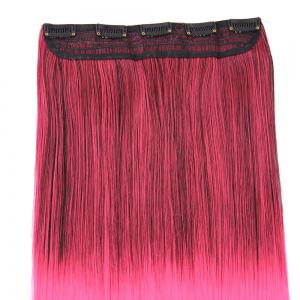 Ombre Short Straight Clip In Hair Extensions - Noir / Rose