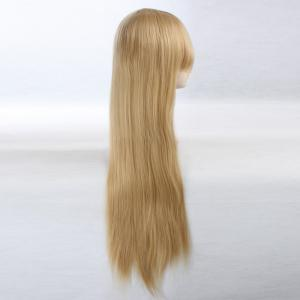 Side Bang Ultra Long Layered Glossy Straight Synthetic Naruto Cosplay Anime Wig - Jaunâtre