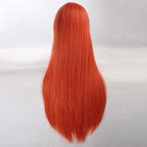 Ultra Long Side Bang Layered Glossy Straight Synthetic Naruto Cosplay Anime Wig - PEARL KUMQUAT