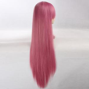 Ultra Long Side Bang Layered Glossy Straight Synthetic Naruto Cosplay Anime Wig - CARMINE RED