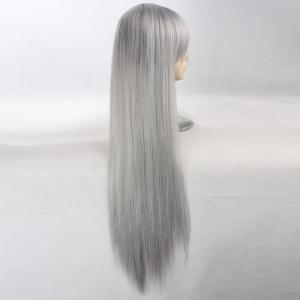 Side Bang Ultra Long Layered Glossy Straight Synthetic Naruto Cosplay Anime Wig - Argent Gris