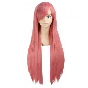 Ultra Long Side Bang Layered Glossy Straight Synthetic Naruto Cosplay Anime Wig - Pink Smoke - One Size